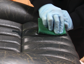 How to restore a leather car interior - Car seat getting prepped