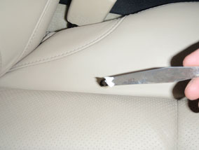 Leather Car Seat Burn Hole Repair 3