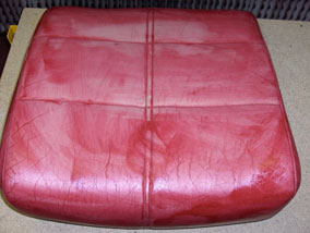 How to change the colour of a leather sofa - first coat of colourant applied.