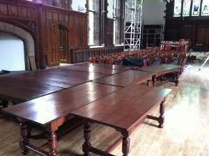Tables polished for Durham Castle using our Beeswax.