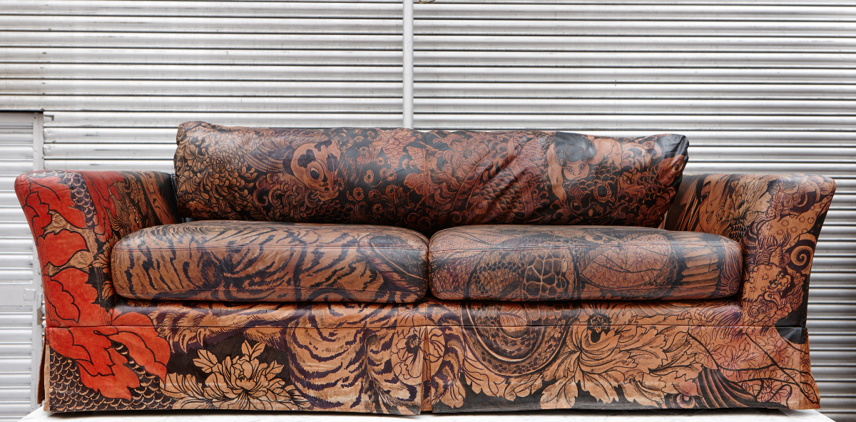 Leather sofa painted with Leather Paint