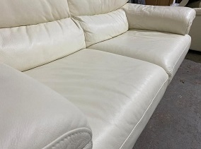 Cream Leather Sofa Restoration After