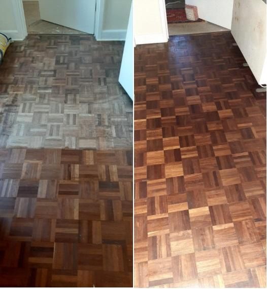 Danish Oil on parquet floor