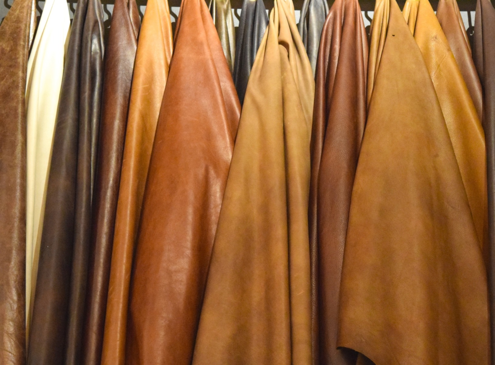 Hanging leather hides